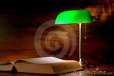 Antique Library Study Book and Old Banker Lamp