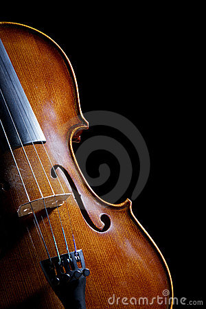 Antique looking violin on black