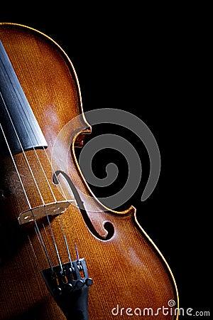Antique looking violin on black