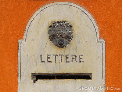Antique mailbox with venetian lion