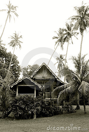 Antique Malaysian rural wooden house