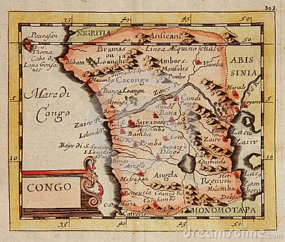 Antique map of Congo (Africa)
