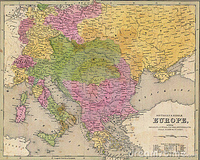 Antique map of Eastern Europe