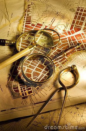 Antique map and magnifying glasses