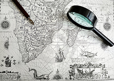 Antique Africa map and manuscript pen