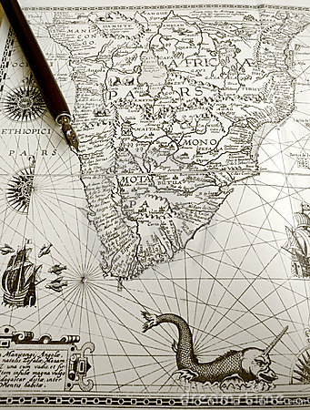 Antique map and manuscript pen