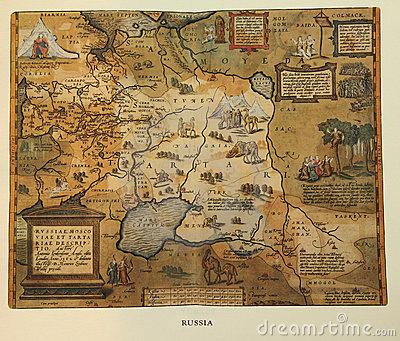 Antique map of Russia