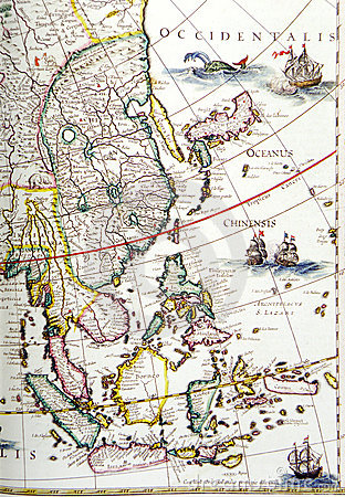 Antique map, southeast asia region