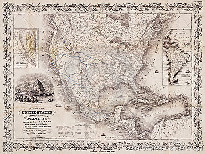 Antique map of the USA and the Americas