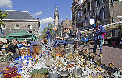 Antique market in Delft Editorial Image