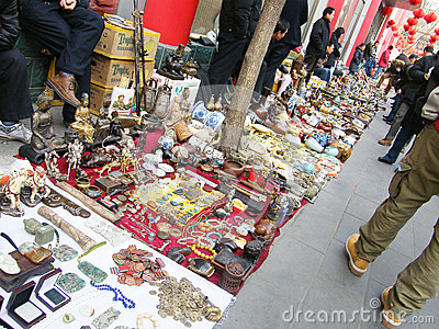 Antique market in Panjiayuan Editorial Stock Photo