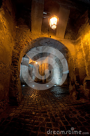 Free Antique Medieval Passage By Night Stock Photo - 61367760