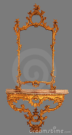 Antique Mirror Wooden Frame Isolated Royalty Free Stock