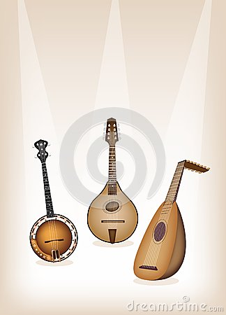 Antique Musical Instrument Strings on Brown Stage