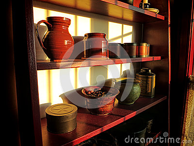 Antique Objects on Old Wood Shelf in Historic Home