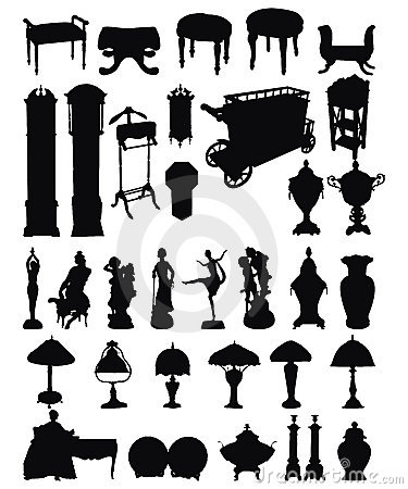 Antique Objects Silhouettes Royalty Free Stock Image - Image: 13207606