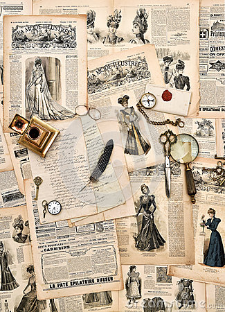 Free Antique Office Supplies, Old Letters, Writing Tools, Vintage Fas Royalty Free Stock Photos - 45195078