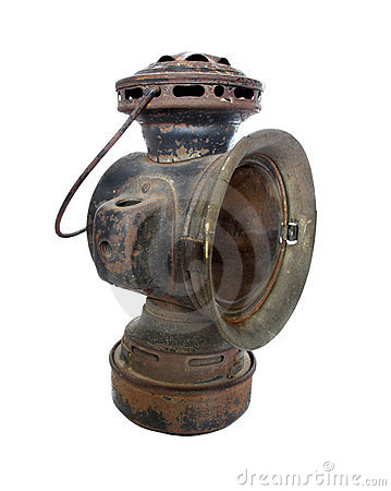 Antique oil carriage headlight lamp isolated