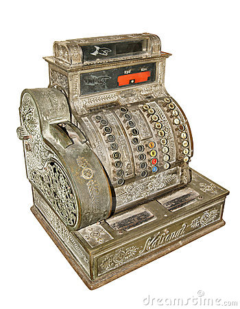 Antique old cash register
