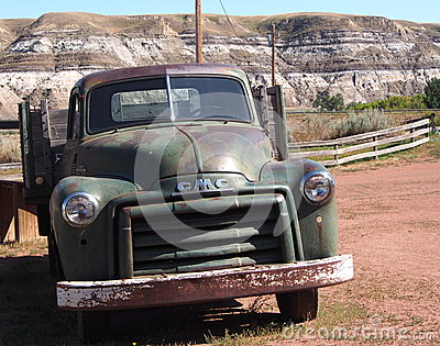 Antique One Ton GMC Truck At Atlas Coal Mine Drumheller Editorial Stock Photo