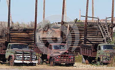 Antique One Ton Trucks At Atlas Coal Mine Drumheller Editorial Photography