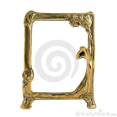Antique ornate frame with white background.
