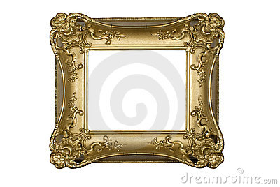antique gold picture frame isolated on white with a clipping path