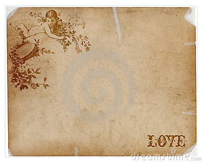 Antique paper with angel and love text