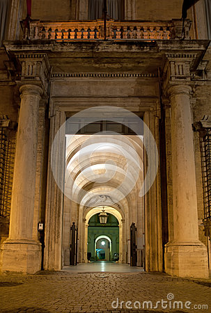 Antique passage by night in Rome, Italy