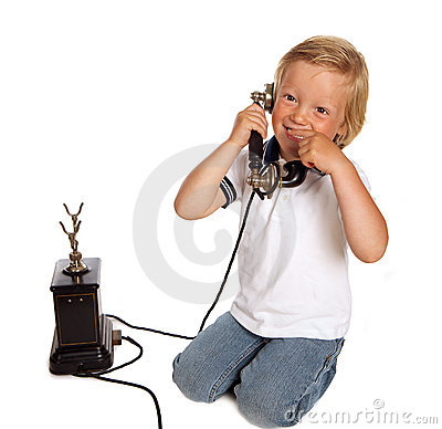 Antique phone and boy