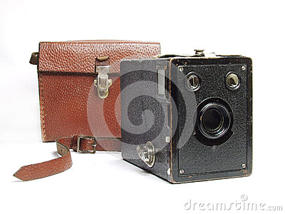 Antique photo camera with case