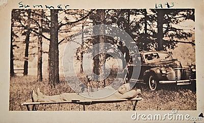 Antique Photo/Man Relaxing/Car