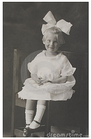 Antique photograph girl with big bow