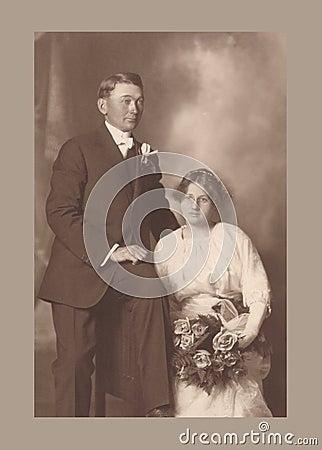 Antique photograph of a wedding couple