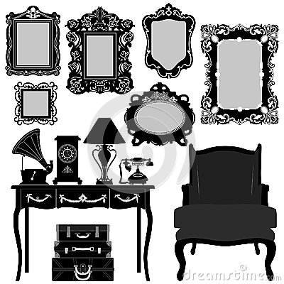 Free Antique Picture Frame Furniture Vintage Retro Royalty Free Stock Photos - 25897848