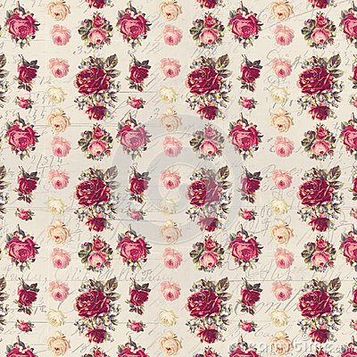 Free Antique Pink And Red Shabby Chic Rose Repeat Pattern Wallpaper Stock Image - 59208091