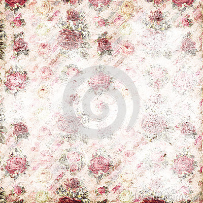 Antique pink and red shabby chic rose repeat pattern wallpaper Stock Photo