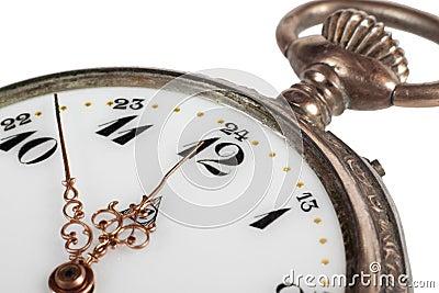 Antique pocket watch, closeup