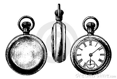 Antique pocket watch graphic three views