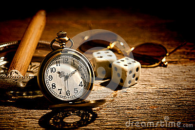 Antique Pocket Watch and Old Gambler Craps Dice