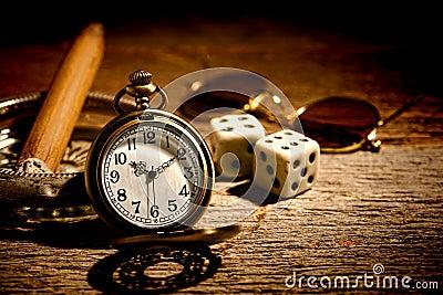 Antique Pocket Watch and Old Gambler Craps Dice