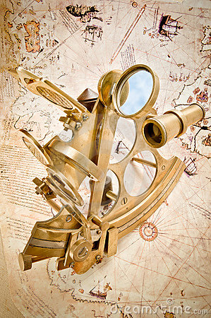 Antique polished brass sextant