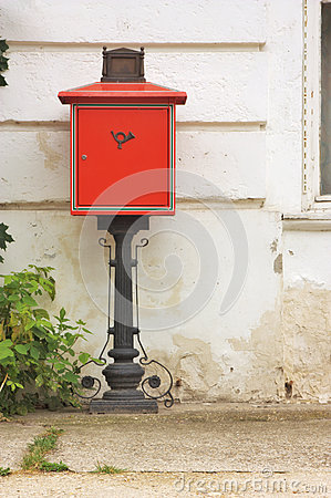 Antique red mail box