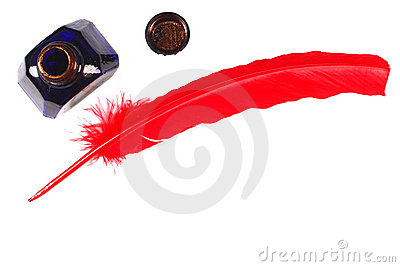 Antique red pen and inkwell