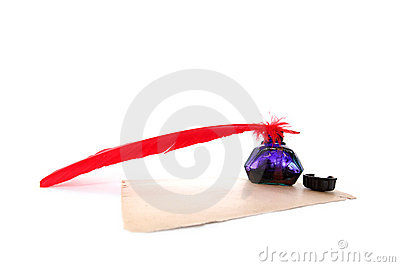 Antique Red Pen And Inkwell At Old Paper Stock Images - Image: 12725334