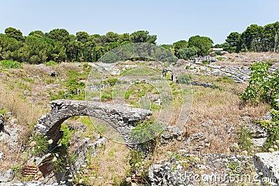 Antique Roman amphitheater in Syracuse