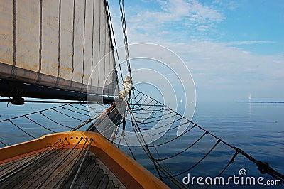 Antique Sailing Ship heading to the sky line
