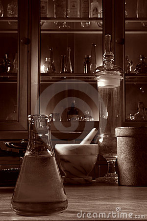 Antique Science Research Lab with Old Glassware