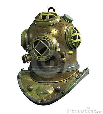 Antique Scuba Helmet - with clipping path