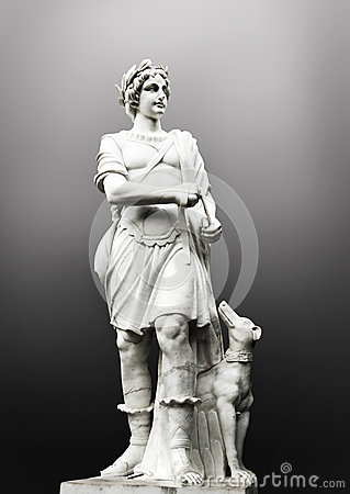 Antique sculpture man with dog